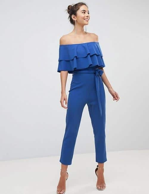 Off Shoulder Pantsuit In Blue