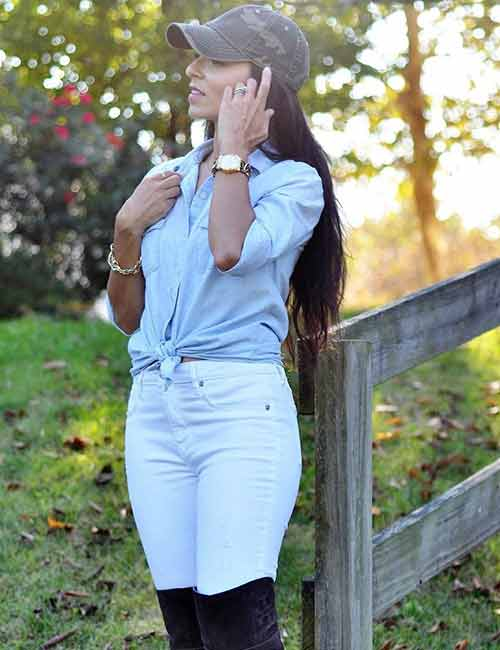 With Light Washed Skinny Denims