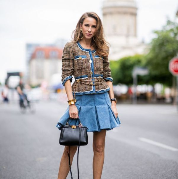 Pleated Jean Skirt