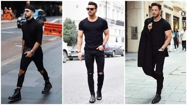 All-Black Outfits Ripped Jeans Men