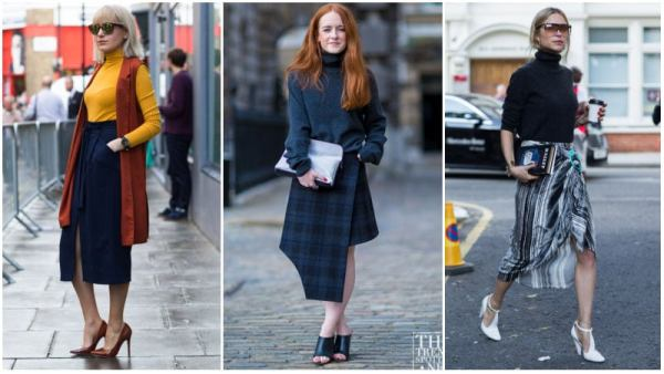 Turtleneck and Midi Skirt Casual Work Outfit Ideas