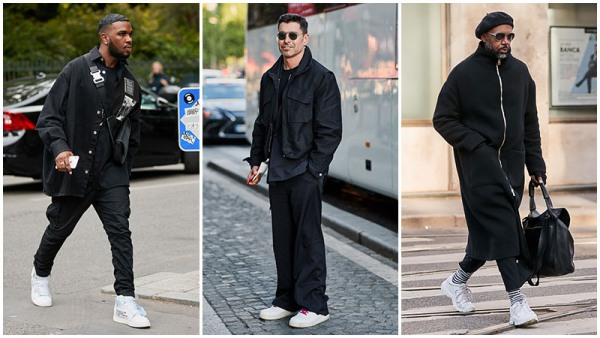 All-Black Outfits with white shoes Men