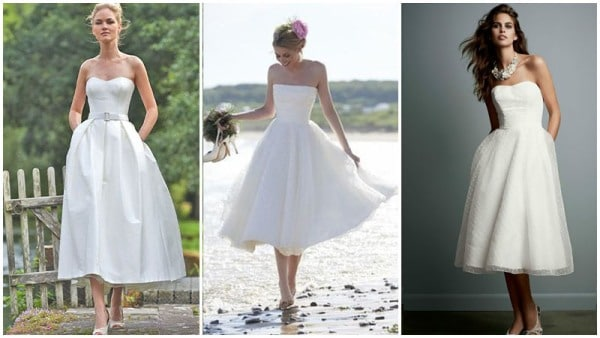 Strapless Tea Length Wedding Dress