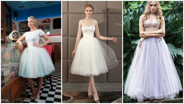 Tulle Tea Length Wedding Dress