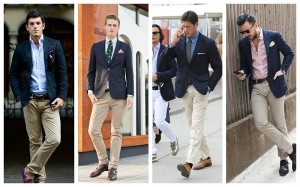 Navy Blazer + Neutral Trousers