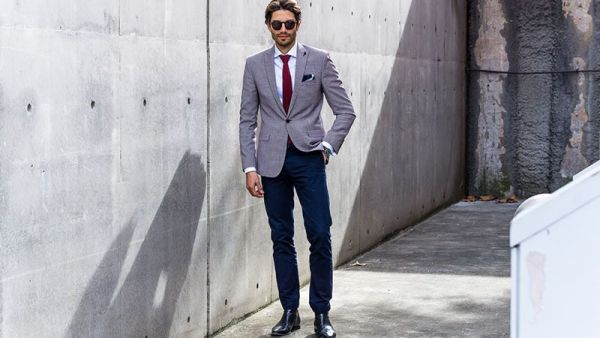 with Navy Pants
