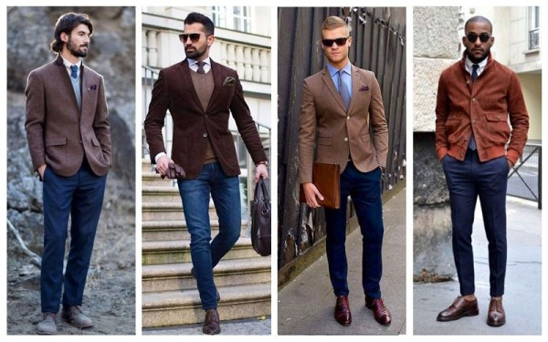 Brown Blazer + Navy Trousers