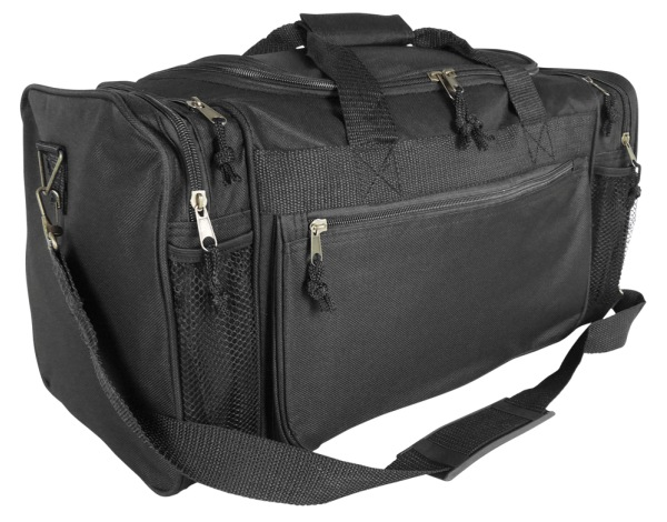 DALIX 20 Sports Duffle Bag w Water Bottle Mesh and Valuables Pockets in Black