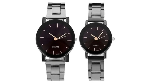 Top Plaza His and Hers All Black Bracelet Watch
