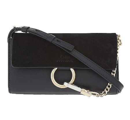 Faye Leather and Suede Clutch – Chloe Cocktail Party Handbags