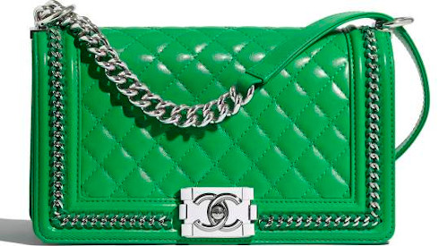 Green Quilted & Silver Metal