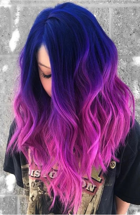 Blue, Pink, Purple Clip-in Hair Extensions