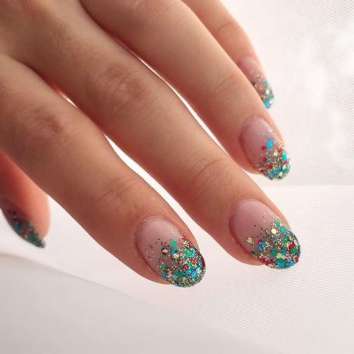 Colorful Glitter Christmas Nails