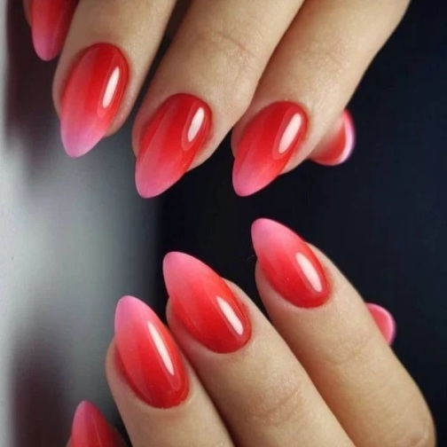 Red Pink Ombre Nails