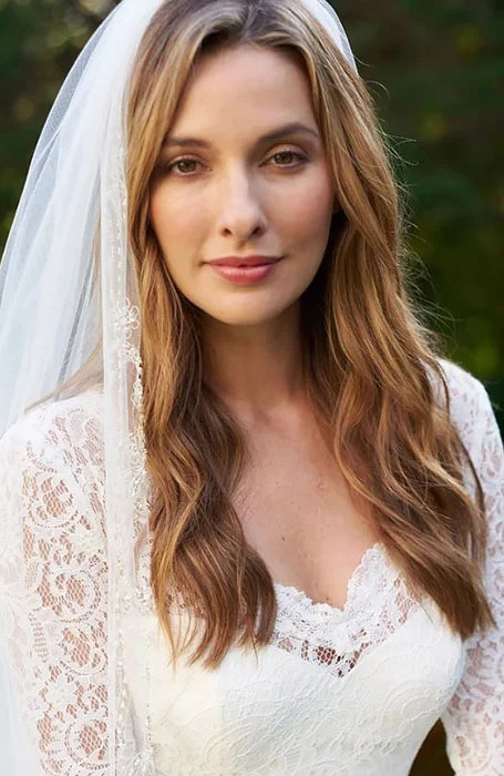 Middle Part Bridal Hairstyle