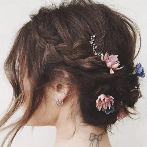 Braided Updo with Flowers Hairstyles For Bridesmaids