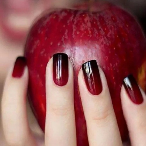 Red And Maroon Ombre Nails