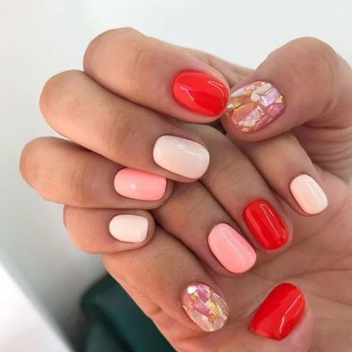 Red And Pastel Nails