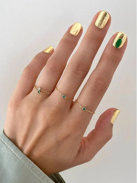 Gold Nails With Green Jade Detail