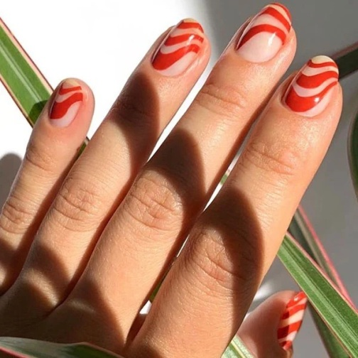 Red And White Candy Nails