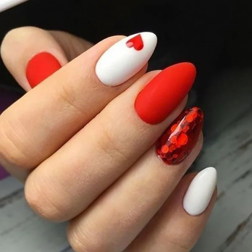 Red And White Love Nails