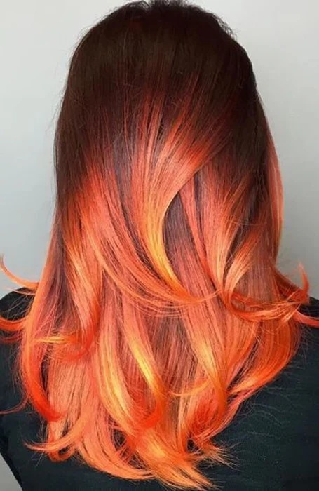 Fire Red and Black Ombre Hair