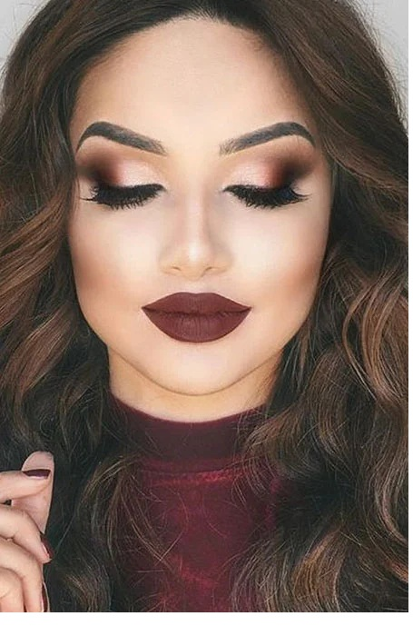 Prom Makeup for Purple and Burgundy Dress