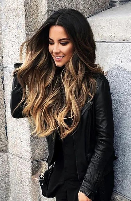 Golden Highlights with Black Hair