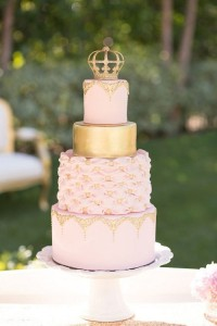 Gold Crown with Pink Royalty Designs for Birthday Cake