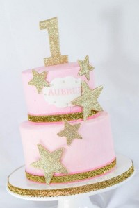 Gold Stars with Pink Fondant for First Birthday